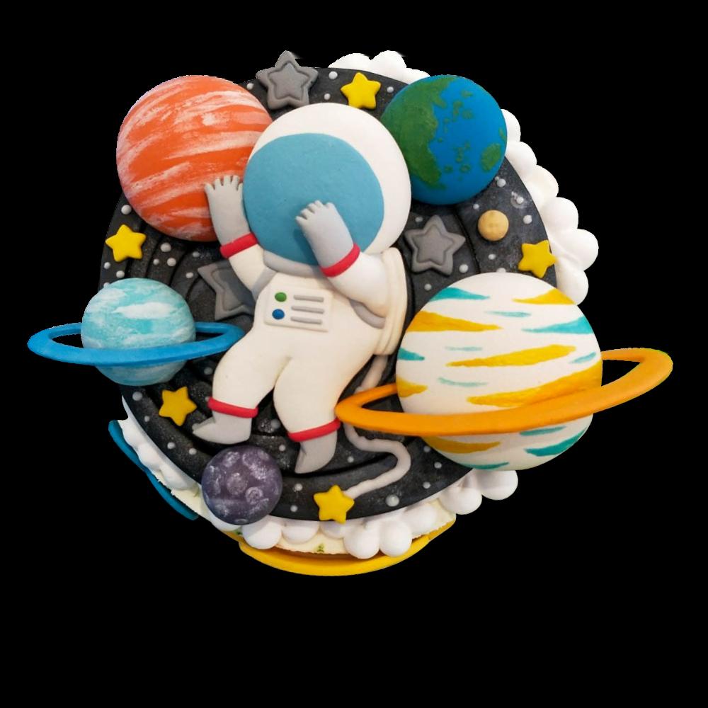 平面式宇宙&星球&太空人造型蛋糕-客製化生日蛋糕 | 米爾利甜點創作 Meler Patisserie